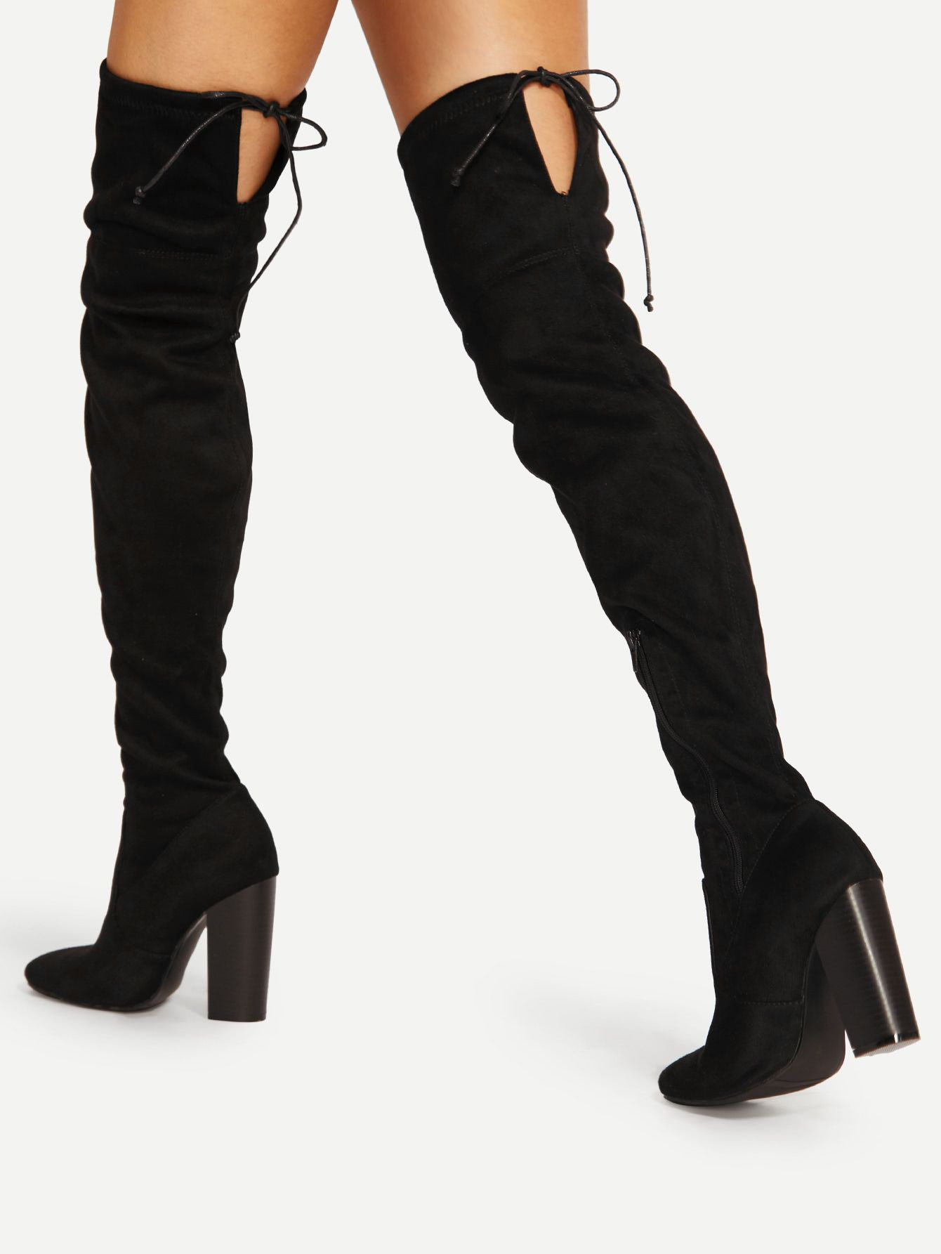 a0e9a35dced Shop Lace Up Detail Block Heeled Thigh High Boots online. SheIn offers Lace  Up Detail Block Heeled Thigh High Boots   more to fit your fashionable needs .