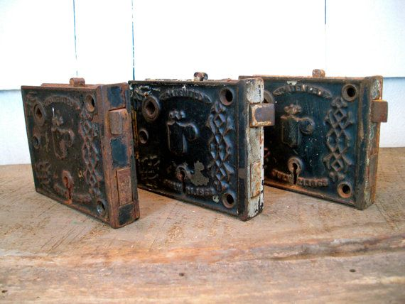 Antique Door Locks reserved for rick - vintage door plate - set of 3 - cast iron