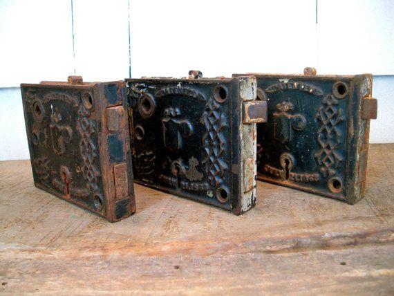 Reserved For Rick   Vintage Door Plate   Set Of 3   Cast Iron   Door Lock    Lock And Key   Skeleton Key   Antique Door Hardware   1800s