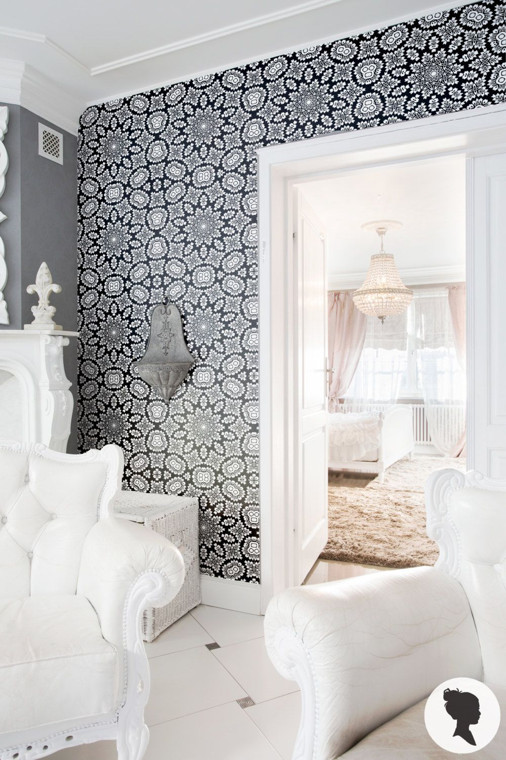 Retro Black Lace Wallpaper, Temporary Removable