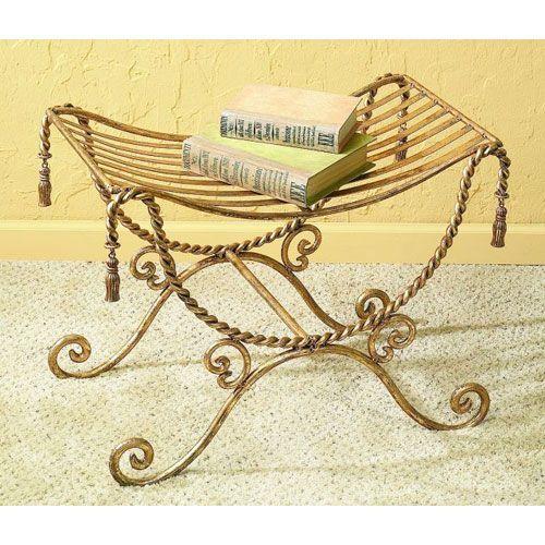 Dr Livingstone I Presume Antique Gold Iron Bench with Swag and - dr livingstone i presume furniture