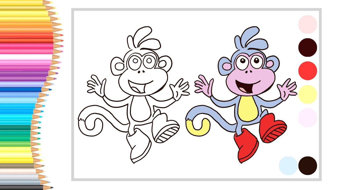 How To Draw And Colour Boots Bujji Monkey From Dora The Explorer 5minu In 2020 Drawing Lessons For Kids Drawing For Kids Drawing Lessons
