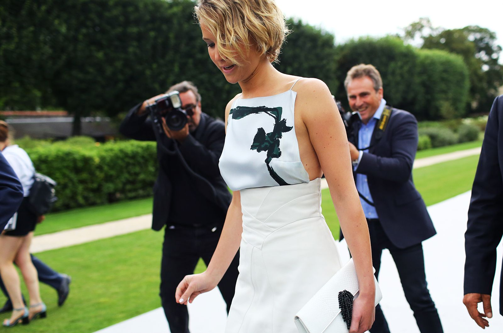 Jennifer Lawrence in Dior @ Paris Fashion Week - love this outfit!