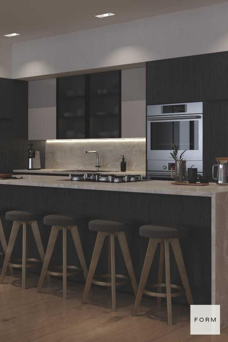 Monochrome Dark Kitchen   Sleek kitchen design, Kitchen design ...