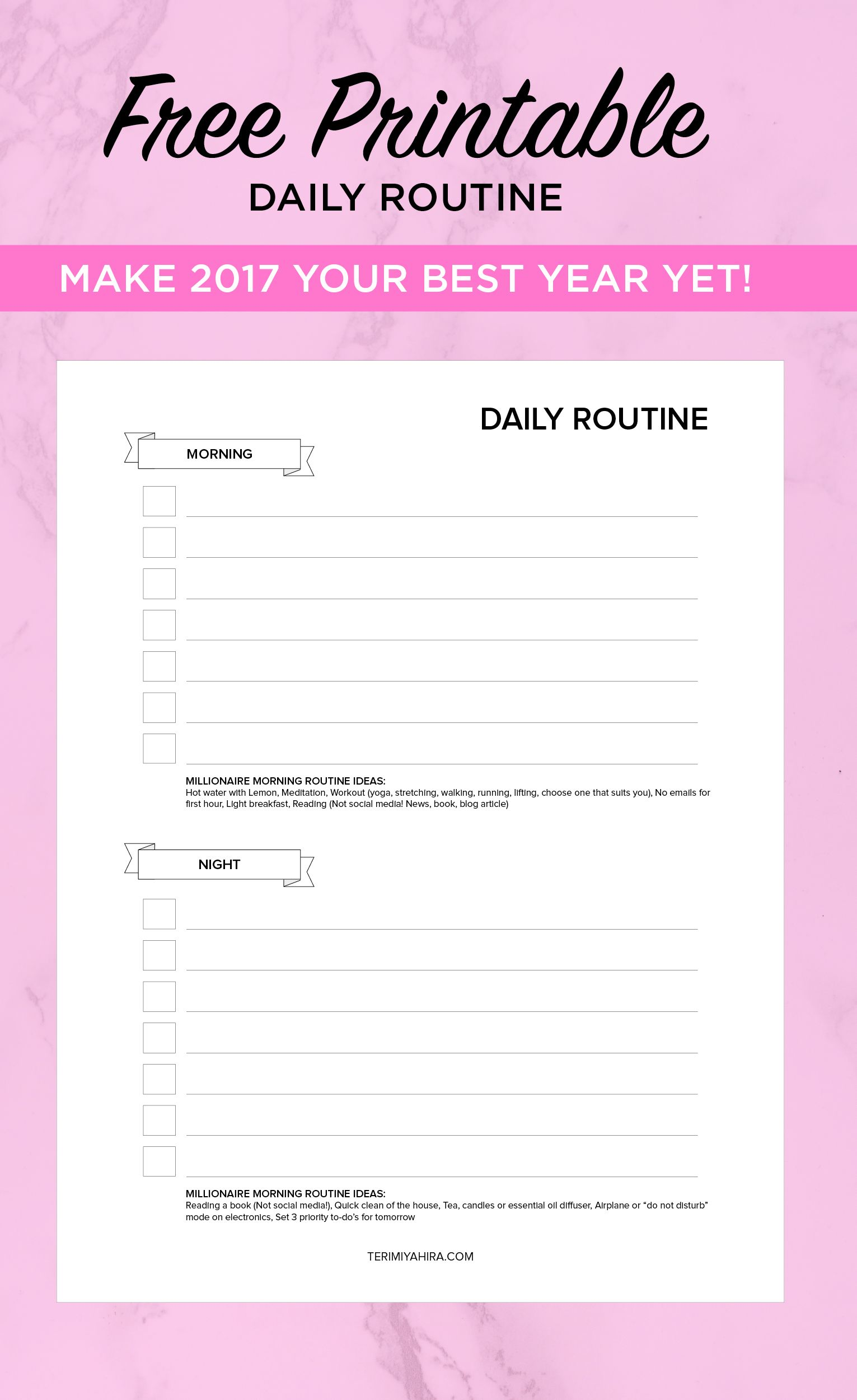 Daily Planner Free Worksheet Printable