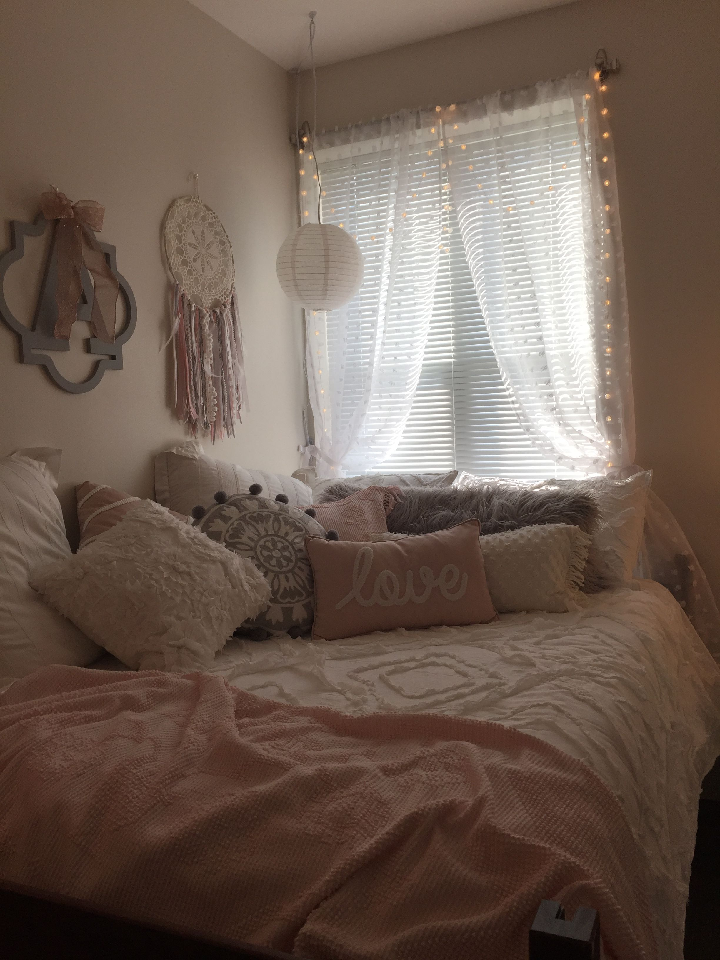 Bed covering window  pink and gray dorm room  dorm room decorating  pinterest  dorm