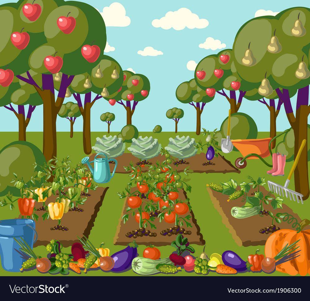 Garden Royalty Free Vector Image Vectorstock Cartoon Garden