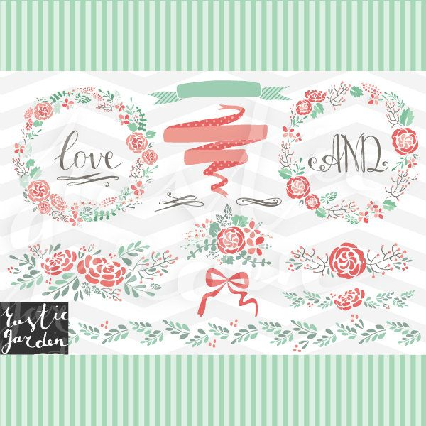 FLORAL Wreath Digital Clipart And Paper Kit Floral Rustic Wedding Clip Art In Pink