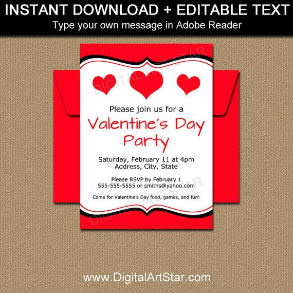 Valentine Invitations Valentines Day Invitation Template Etsy Valentine Invitations Valentines Day Party Valentines School