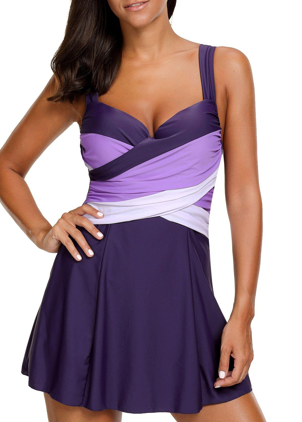 28c3c200fa972 Tie Back High Waist Purple Swimdress on sale only US$32.89 now, buy cheap  Tie Back High Waist Purple Swimdress at liligal.com