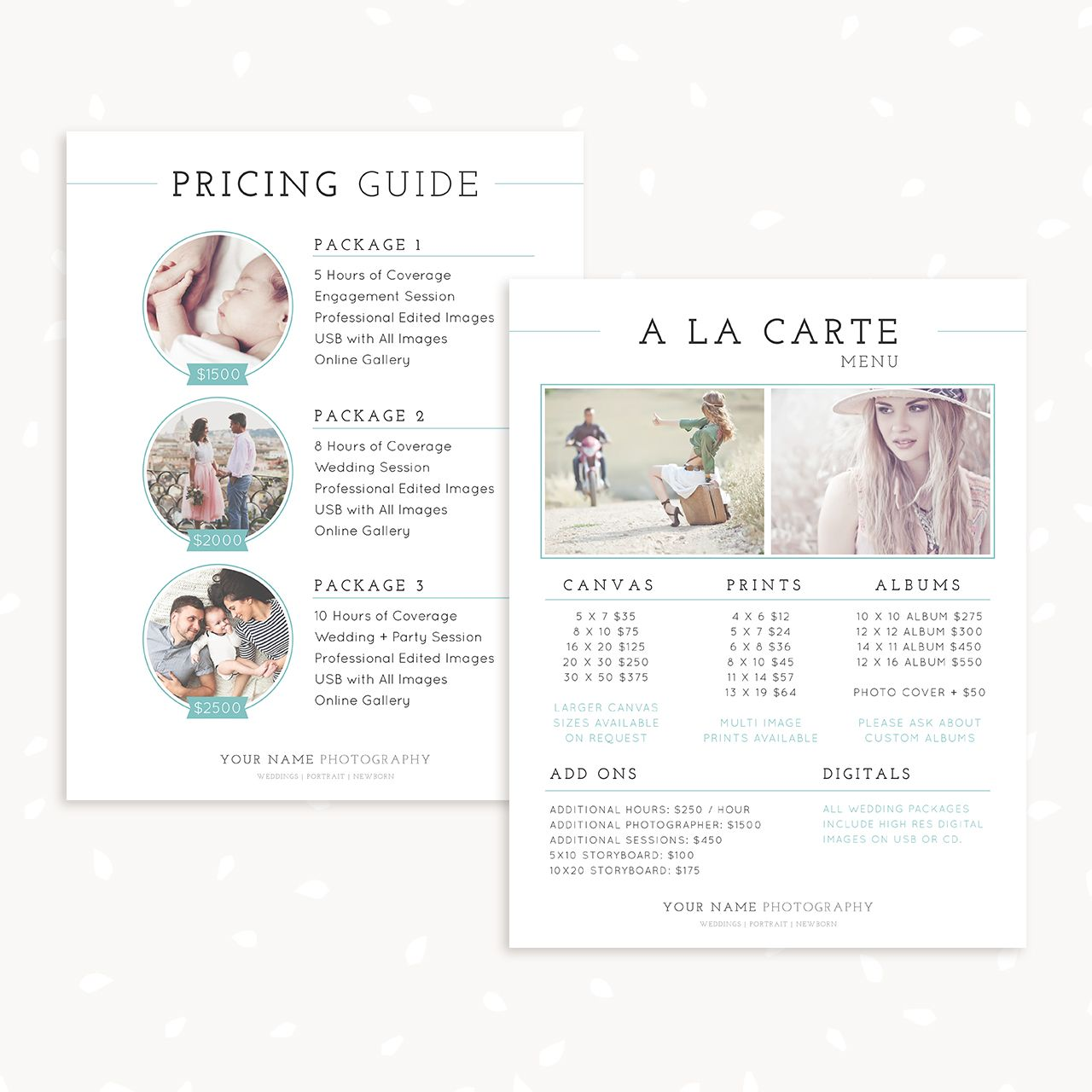 Classical Pricing Guide And A La Carte Menu Template Photography