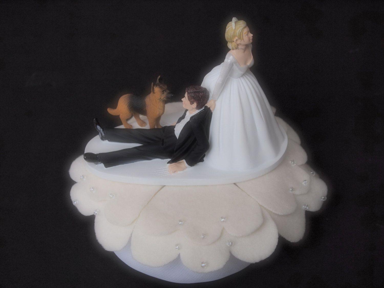Cake Topper Wedding Bride and Groom Dog German Shepherd by