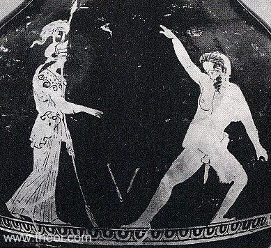 The satyr Marsyas retrieves the double-flute discarded by the goddess Athene. He is shown with the horse's tail and ears typical of his kind.