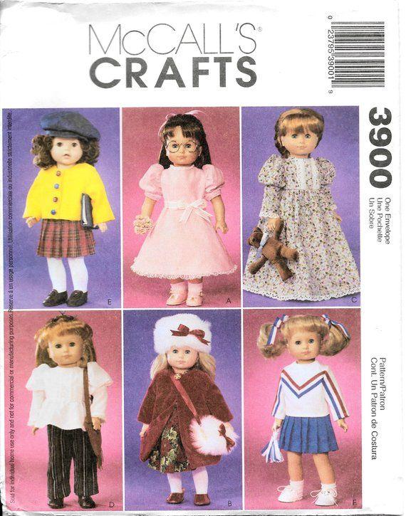 McCalls 3900 18 Inch Doll Clothes Cheerleader Skirt Cardigan Nightgown Coat #18inchcheerleaderclothes