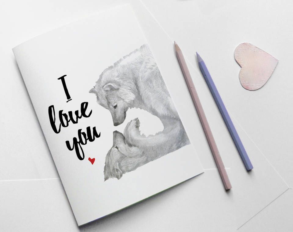 I love you card wolf lovers - I love you art - love greeting card - printable anniversary cards for her