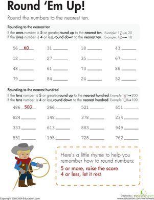Rounding Round Em Up Worksheet Education Com Third Grade Math Worksheets Third Grade Math Rounding Worksheets