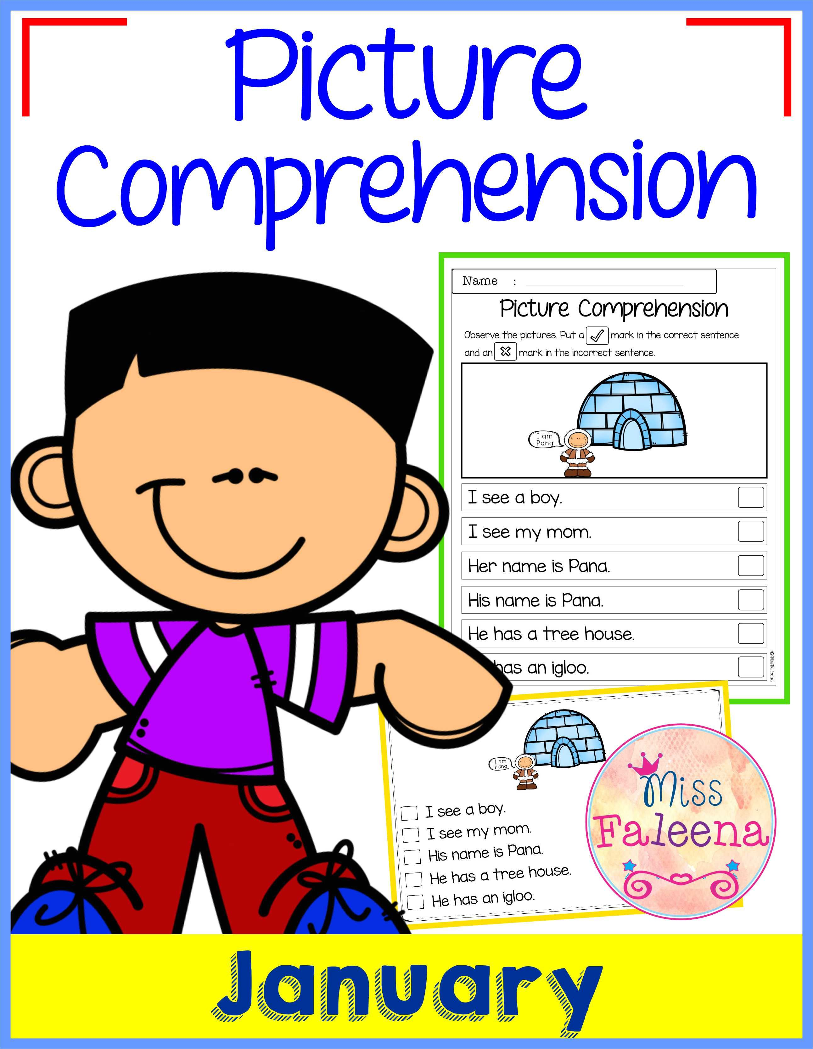 January Picture Comprehension Cards And Worksheets