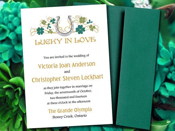 Diy Wedding Invitation Template Lucky In Love Horseshoe Shamrock Clover Green Gold Silver Blush Pink Horse Shoe