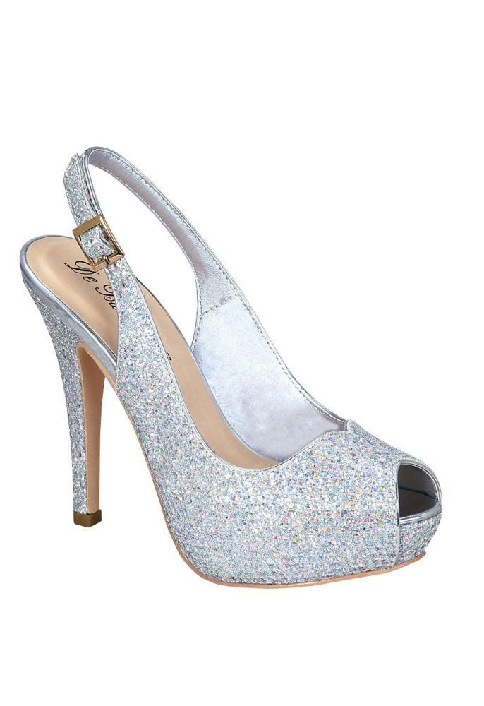 fb7227e84c7 Glitter Peep Toe Slingback High Heel by Blossom - Silver Metallic