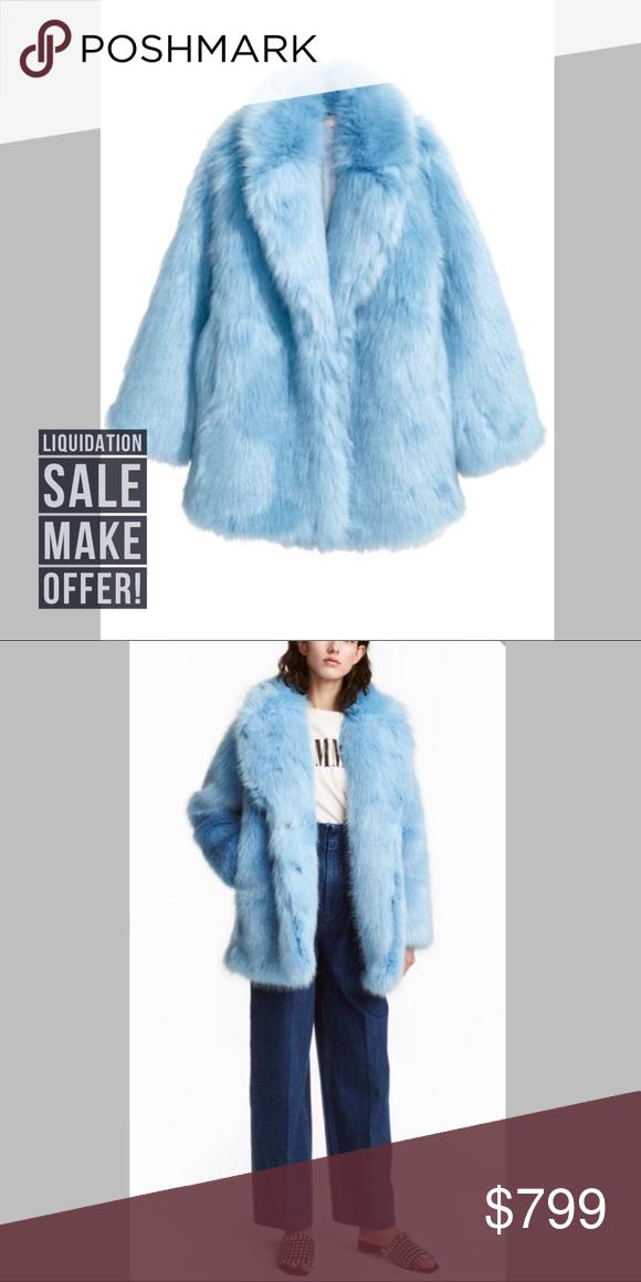 H M Blue Faux Fur Coat Blogger Favorite Blue Faux Fur Coat Faux Fur Coat Fur Coat
