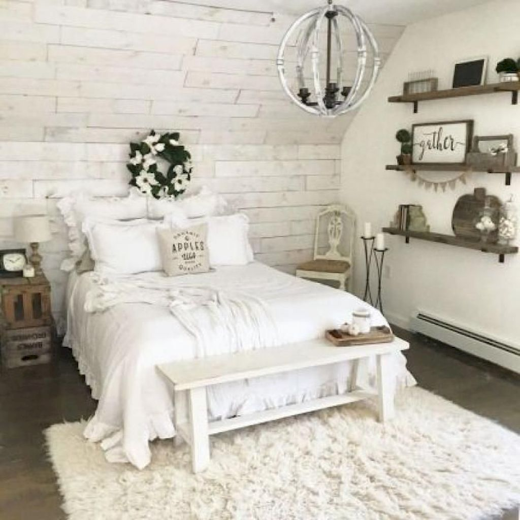 Master bedroom decor 2018   AWESOME FARMHOUSE RUSTIC MASTER BEDROOM IDEAS  Bedroom
