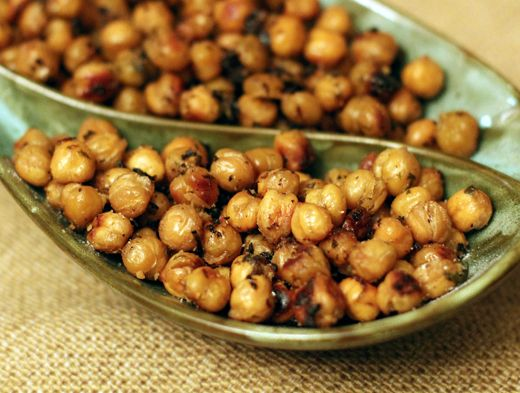 Lemon Garlic roasted Chickpeas  1 can of chickpeas, rinsed and drained, or 1 ½ to 2 cups cooked chickpeas  the juice of one lemon  1/4 teaspoon finely grated lemon zest   2 medium cloves of garlic, pressed or finely minced  1 tablespoon olive oil  ½ teaspoon kosher salt, or more to taste  freshly ground pepper to taste  ½ teaspoon granulated garlic  1 teaspoon dried herb such as basil, thyme, parsley, rosemary, mint, etc