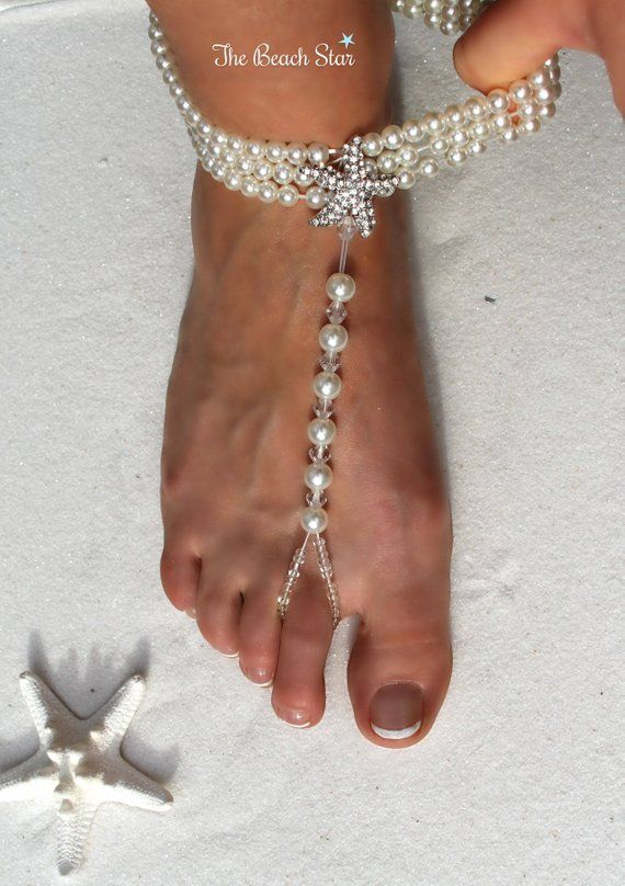 cd3f4f0e3b44cc Pair of Ivory Beaded Pearl Barefoot Sandals Anklet Stunning Crystal Rhinestone  Starfish