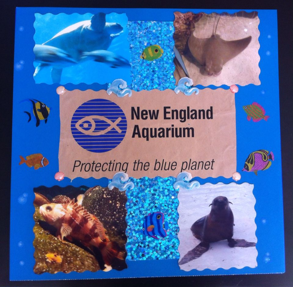 New England Aquarium scrapbook page. Label came from the bag from the souvenir shop.