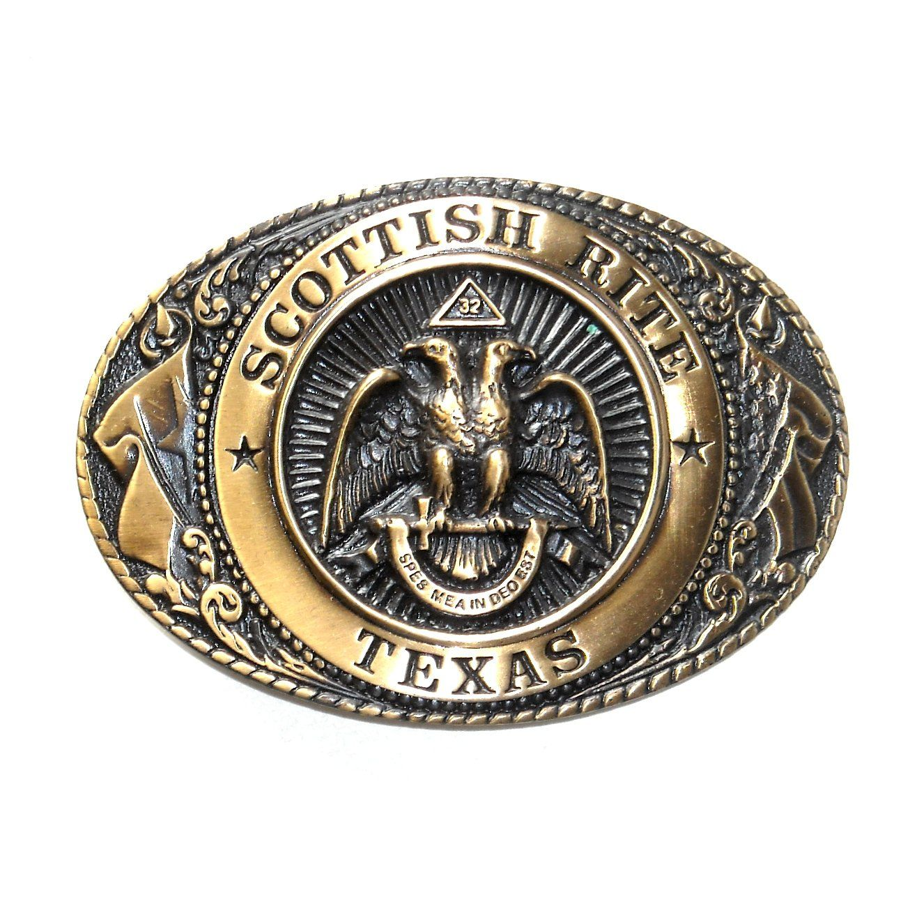 TEXAS STATE SEAL WESTERN BELT BUCKLE 2 3//4 BY 3 3//4 GOLD TONE