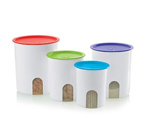 Online Exclusive Sale for these Tupperware One Touch(r) Colorful Canister Set