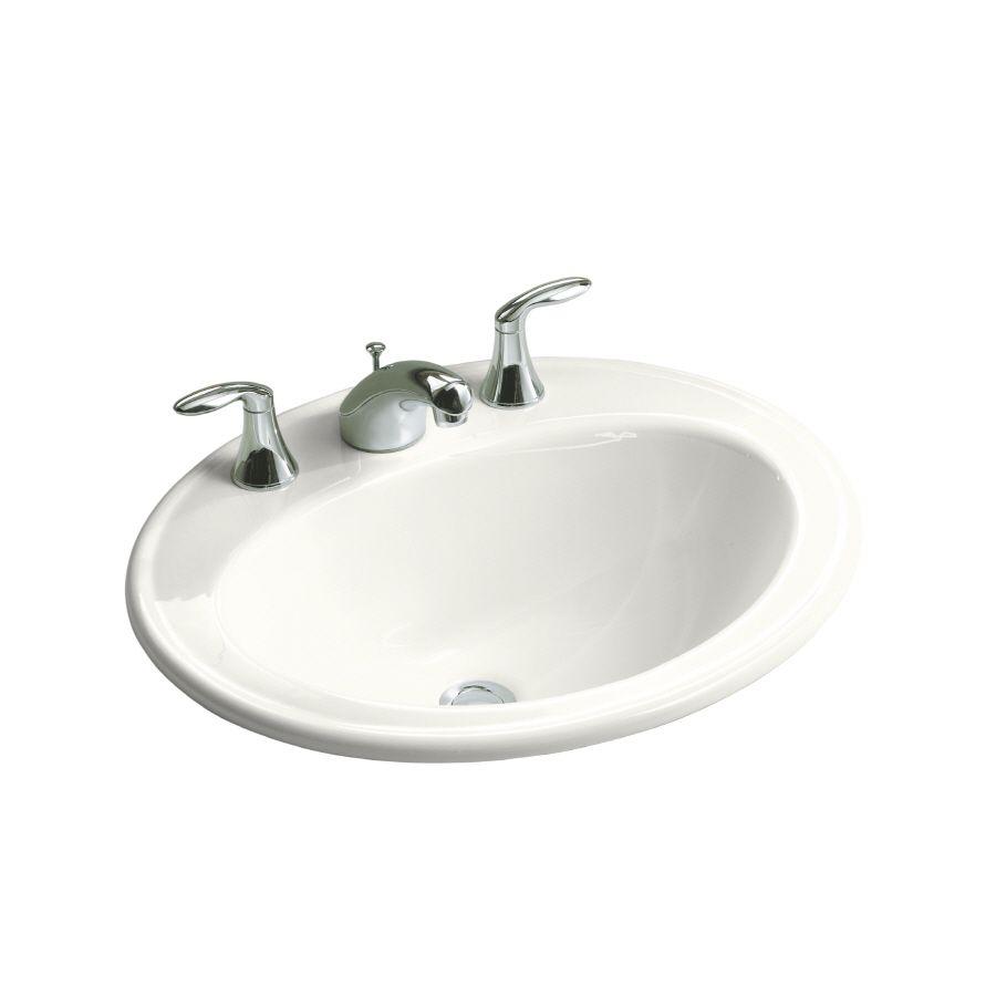 Shop Kohler Pennington White Drop In Oval Bathroom Sink With Overflow At Lowes Com Bathroom