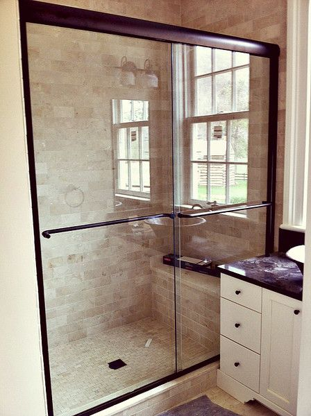 Frameless Sliding Shower Unit With Brushed Nickel Hardware Tub Enclosures Frameless Shower Doors Shower Door Handles
