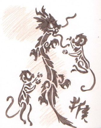 monkey and dragon as friends dragon and monkey tattoo sketch by