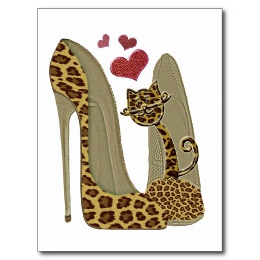 Leopard Stiletto Shoes and Cat Art Postcards