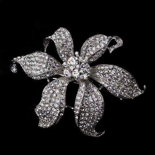 Large Rhinestone Flower Wedding Bridal Barrette  Special Occasion Prom Party ** Details can be found by clicking on the image.