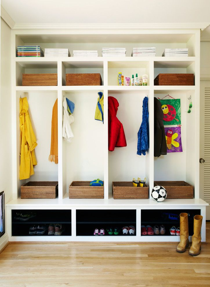 Mudroom Cubbies Entry Contemporary With Boots Built In Storage