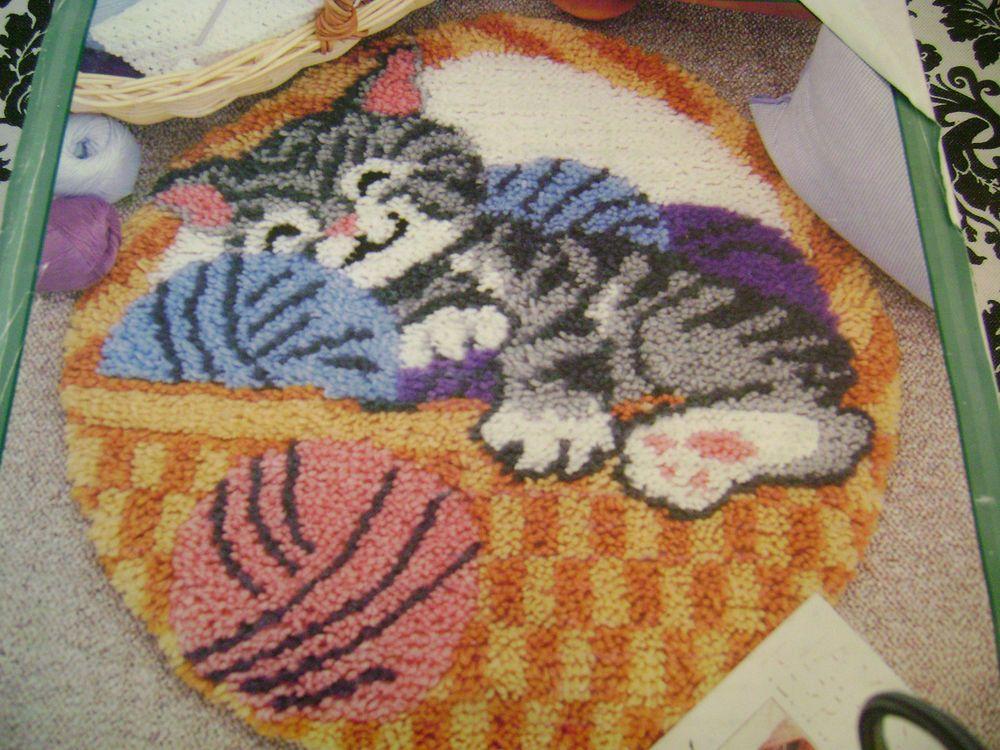 Cat Nap Kitty Kitten Natura Latch Hook Rug Kit 24 In Round Latch Hook Rug Kits Latch Hook Rugs Rug Hooking