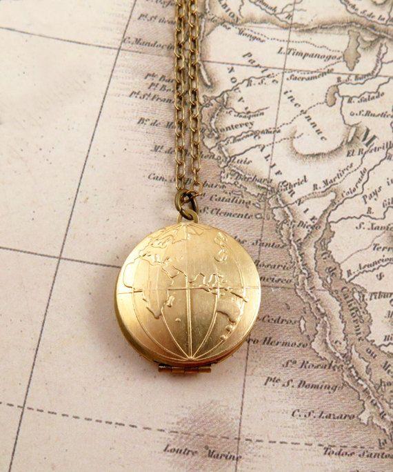 Globe locket necklace map necklace world map atlas travel globe locket necklace map necklace world map atlas travel jewelry bon voyage gift world traveler gumiabroncs Choice Image