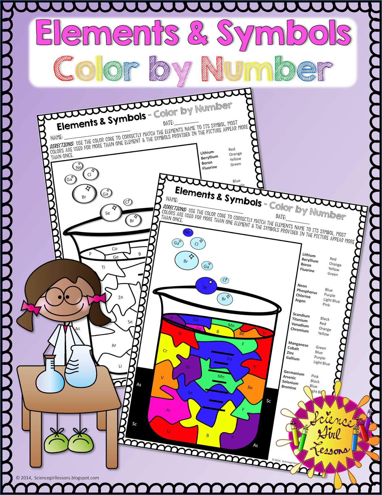 Co color by number girls - Put A Fun Twist On Learning Chemical Symbols With This Color By Chemical Symbols