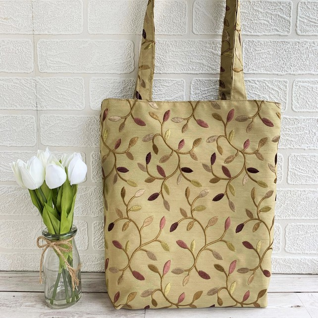 Woodland Tote Bag In Embroidered Fabric With Twining Leaf Pattern