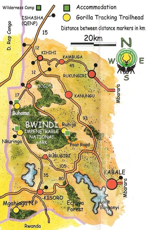 Map Of Bwindi Impenetrable Forest National Parks Map