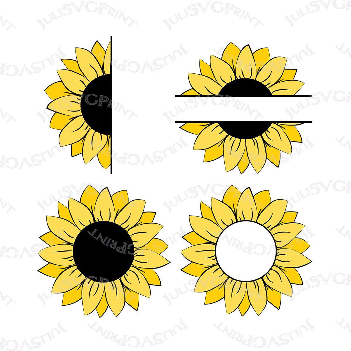 Half Sunflower Clipart