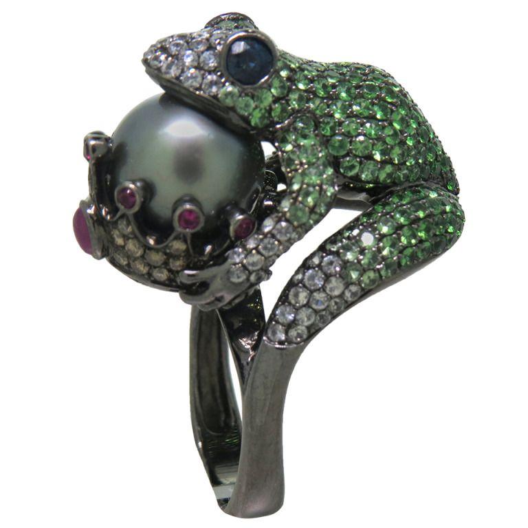 Modern Tsavorite Pearl Ruby Sapphire Diamond Blackened Gold Frog
