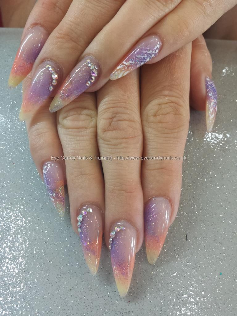 Yellow, orange and purple acrylic fade with glitter, nail art and ...