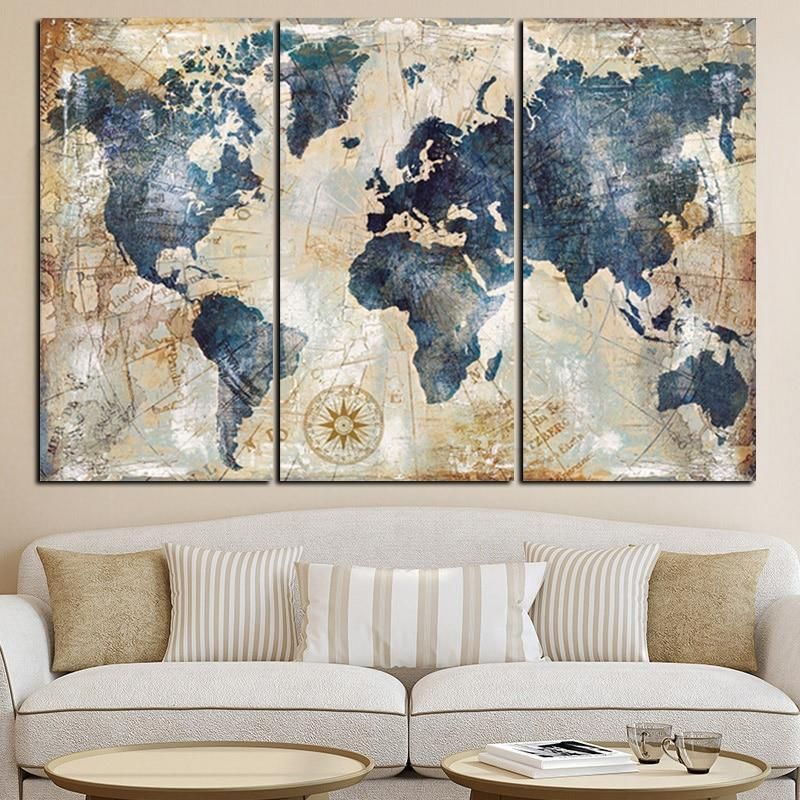 3 Panel Blue World Map Painting Posters Map Canvas Art World Map Painting 3 Piece Canvas Art