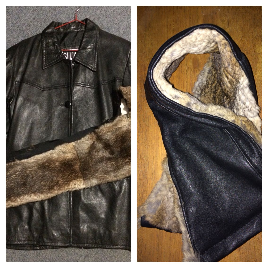 Recycled leather and fur into a super toasty winter scarf. Made in Tasmania by K8Created
