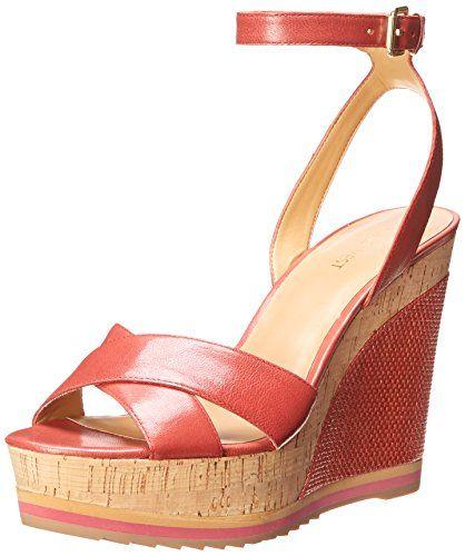 Nine West Women's Wakely Leather Wedge Sandal, Pink/Orange, 5.5 M US Nine