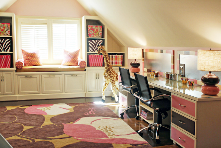 girls rooms butter yellow walls pink accent wall sloped ceiling built in window seat