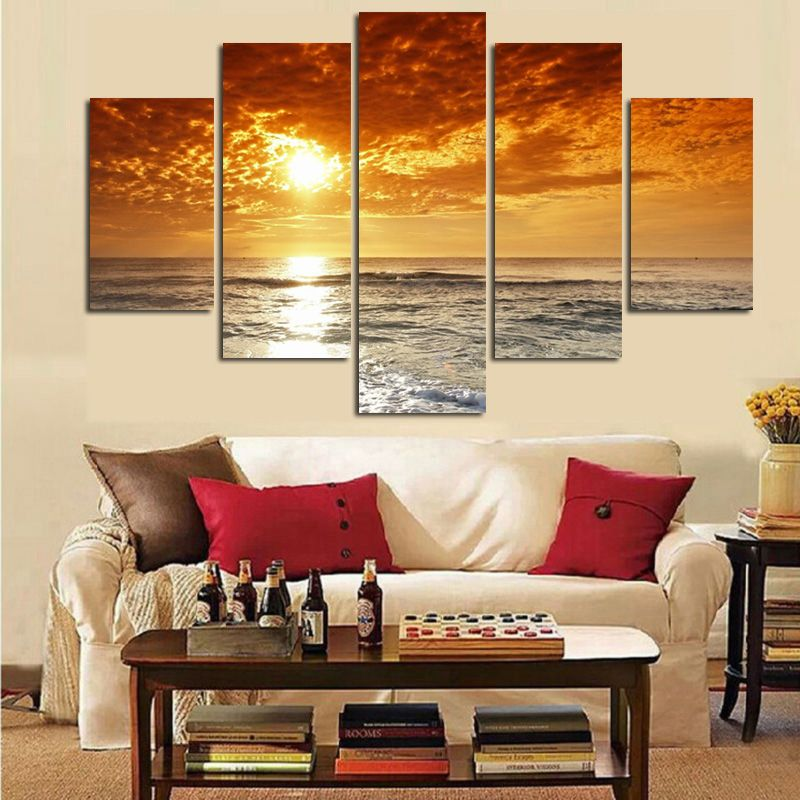 5Panel HD Print Rising Sun Flames Sky Seascape On Canvas Art Modern Modular  Wall Painting Pictures Part 88
