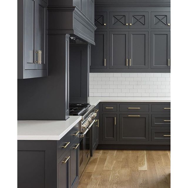 Dark Cabinets, White Tile, Gold Handles In This Gorgeous